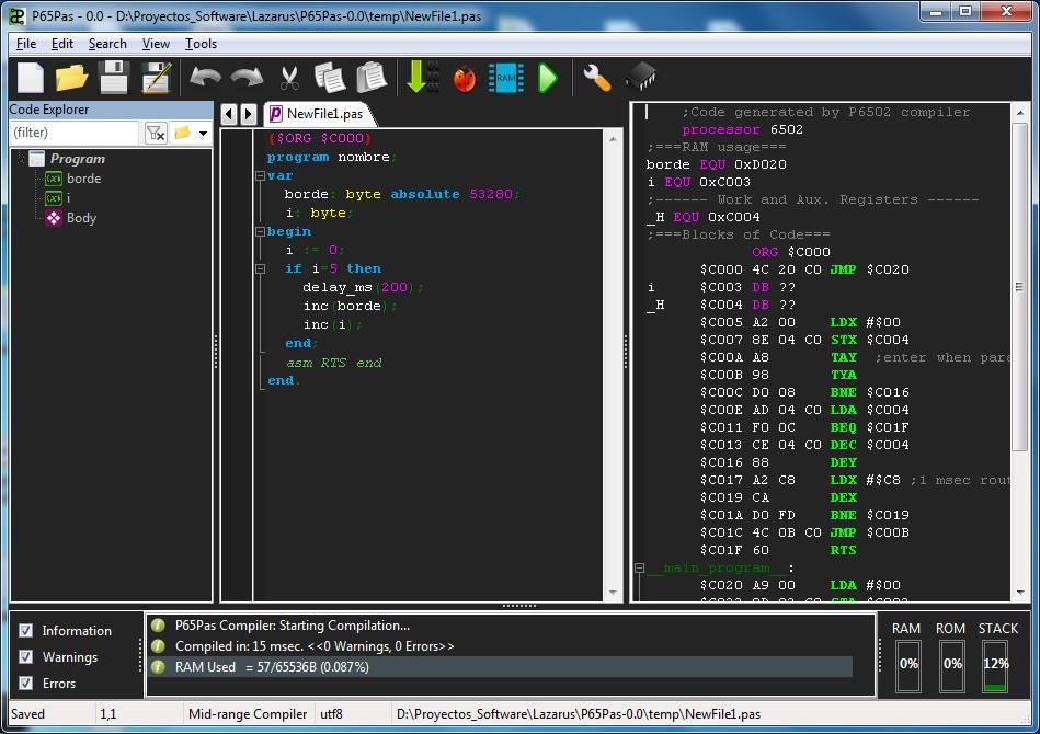 P65Pas, Cross Platform Pascal Compiler for 6502 CPU   Retro